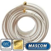 Mascom koaxiális kábel 7676-150W, csatlakozók F 15m