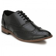 Eego Italy Black Stylish Men's Formal Wing Tip Brogue