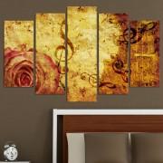 Декоративен панел за стена с музикална абстракция в бежово-кафява гама Vivid Home