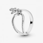 PANDORA Sparkling Butterfly Open Ring, Sieraden uit Sterling zilver, Cubic Zirconia, Clear, 197920CZ-48