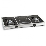 Glen Alda Kitchen 137 GT Glass Gas Stove + Induction Cooker Ultra light aluminium alloy burners for longer life and higher efficiency Gas Stove