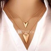 Dames gelaagde Kettingen Driehoekige vorm Legering Basisontwerp Modieus PERSGepersonaliseerd Europees Kostuum juwelen Sieraden Voor