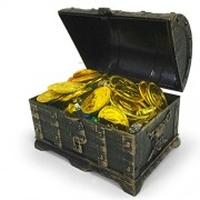TOYMYTOY Vintage Pirate Treasure Chest Box with 100 Jewelry, 100 Gold Coins, 2 Earring, 2 Rings - Children Novelty Toys