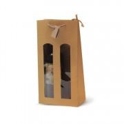 Portabottiglia in carta kraft naturale con vetrina (17.5+8.5x37cm) bca336na