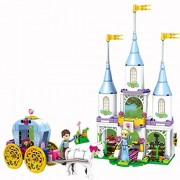 Happy Giftmart Princess 240 Pcs Cinderella's Castle Doll House Carriage Prince Charming Building Block Lego Compatible Set Amazing Castle Gift Toy