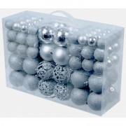 Merkloos Goedkope kerstballen zilver 100 stuks - Kerstbal