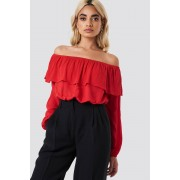 Glamorous Off Shoulder Ruffle Blouse - Off Shoulder - Red