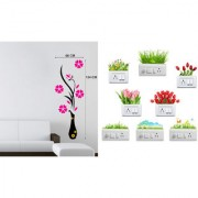EJA Art Flower Vase MagentaWall Sticker With Free Flowers Switch Board Sticker Matrial - PVC Color - Multicolor
