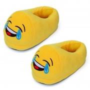 Merkloos Dames lachende smiley pantoffels