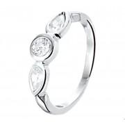 Quickjewels Huiscollectie Zilver Zilver Gerhodineerde Ring zirkonia 1325494 16.00 mm (50)