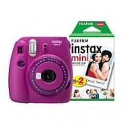 Fuji Instant Camera Instax Mini 9 Clear Purple + 1 x 20 shot mini film pack
