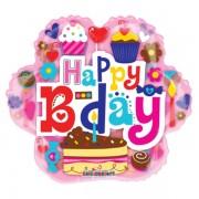 Happy birthday, virág, sütis, fólia lufi, 45 cm