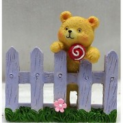 Wonderland 2.2 inches Teddy Bear on Fence Decoration Mini (terrarium home garden decor gifting)