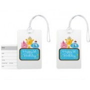 100yellow Luggage Tag- Happy 1st Birthday Print High Quality PVC Travel/Bag Tag with Silicon Strap BY 100yellow-Pack Of 2 Luggage Tag(Multicolor)