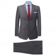 vidaXL Мъжки костюм, 2 части, сив, размер 54