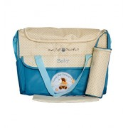 Pink Olive Fabric Blue Beige Diaper Bag (PO-0615B17)