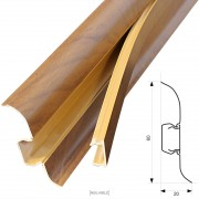 [neu.haus] Rodapiés PVC (30m x 6cm)(12 x 2,5 m)(nogal) zócalo con pasacables listón laminado