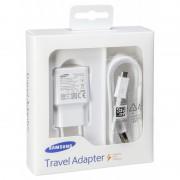 BLISZTERES Samsung EP-TA20EWE gyári hálózati fehér gyorstöltő 2A ECB-DU4EWE fehér gyári MicroUSB adatkábellel 1.5m
