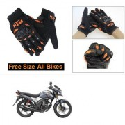 AutoStark Gloves KTM Bike Riding Gloves Orange and Black Riding Gloves Free Size For Honda CB Shine