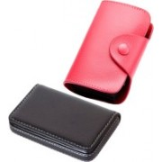 Stealodeal New Pink Leatherite High Quality Wallet With Black Leather 15 Card Holder(Set of 2, Pink, Black)