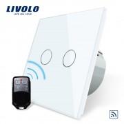 Pachet Întrerupător touch dublu RF din sticlă Livolo + Telecomanda mini 3 circuite