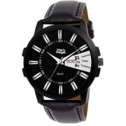 Mark Regal Round Black Dail Black Leather Strap Day/Date Analog Watch For Men-MR-DD(04D)