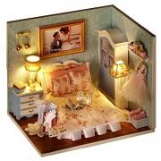 lemogo DIY Wooden Dolls House Handcraft Miniature Kit- Bedroom Model & All Furniture