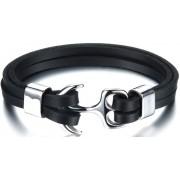 Troli Brățară din piele neagră cu ancoră din oțel Leather