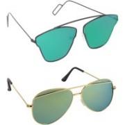 Pogo Fashion Club Aviator, Retro Square, Cat-eye Sunglasses(Green, Golden)