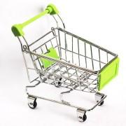 Mini Supermarket Shopping Cart Decoration, Storage Box, Cellphone Holder, Creative Novelty Gift Green