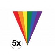 Geen 5x Gay pride regenboog slingers vlaggenlijnen 5 meter