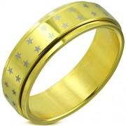 Arany színű csillag mintás, középen forgó nemesacél gyűrű-9