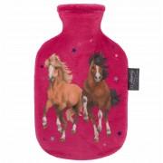 Fashy Warmwaterkruik fuchsia roze met paarden/pony kruikenhoes 0,8 liter