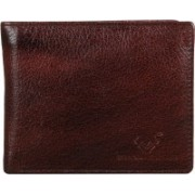 Brand Leather Men Casual Brown Genuine Leather Wallet(5 Card Slots)