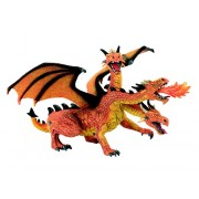 Figurina Bullyland Dragon portocaliu, orange cu 3 capete