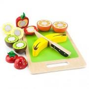 Toddler Toy Playset, Natural Wood Eats Fruit Slicers Kids Toys Playsets
