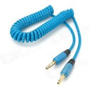 Spring Wire Aux Cable Blue 3-5MM-Auxiliary-Coiled-Audio-Cable-High