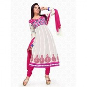 Aaina White Chiffon Embroidered Dress Material (SB-1159) (Unstitched)