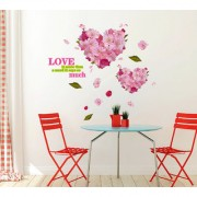 Wall Stickers Love Is More Than A Word Quote With Heart-Shaped Pink Cherry Blossoms Flowers Bouquet Vinyl