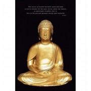 Merkloos Poster gouden boeddha 61 x 91 cm - Action products