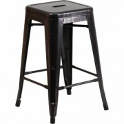 Flash Furniture Backless Metal Indoor/Outdoor Counter Height Stool - 24Inch H, Black/Antique Gold, Model CH3132024BQ