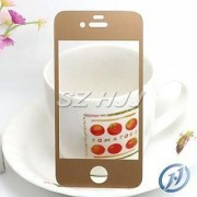 FRONT AND BACK GOLD GOLDEN TEMPERED GLASS SCREEN GUARD FOR APPLE IPHONE 4/4S/4G