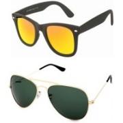 Barbarik Aviator, Wayfarer Sunglasses(Green, Golden)