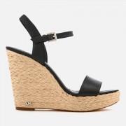 MICHAEL MICHAEL KORS Women's Jill Tumbled Leather Wedged Sandals - Black - US 7/UK 4 - Black