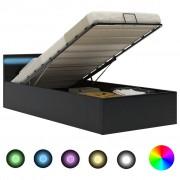 vidaXL Легло повдигащ механизъм с LED черно изкуствена кожа 90x200 cм