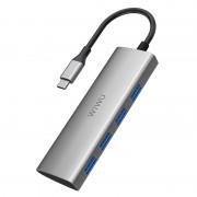 WIWU A440 4-in-1 USB-C Hub 4 Ports USB 3.0 Type-C Splitter Hub - Grey