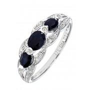 Sapphire Ring, 375 Weißgold, Diamant, Saphir silber