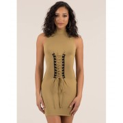CheapChic In Due Corset Lace-up Mockneck Dress Camel