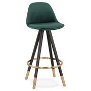 Halfhoge design barkruk 'CHICAGO MINI' in groen fluweel en 4 poten in zwart hout