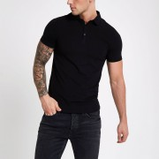river island Mens Black essential muscle fit polo shirt (XS)
